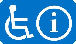 piktogram miejsca oczekiwania osoby z niepełnosprawnościami: osoba na wózku oraz literka i umieszczone na niebieskim tle