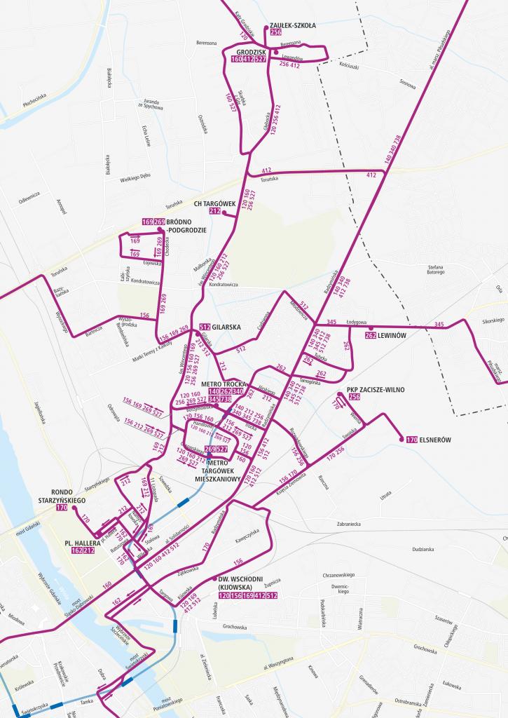 Schemat linii autobusowych po otwarciu metra na Targówek.