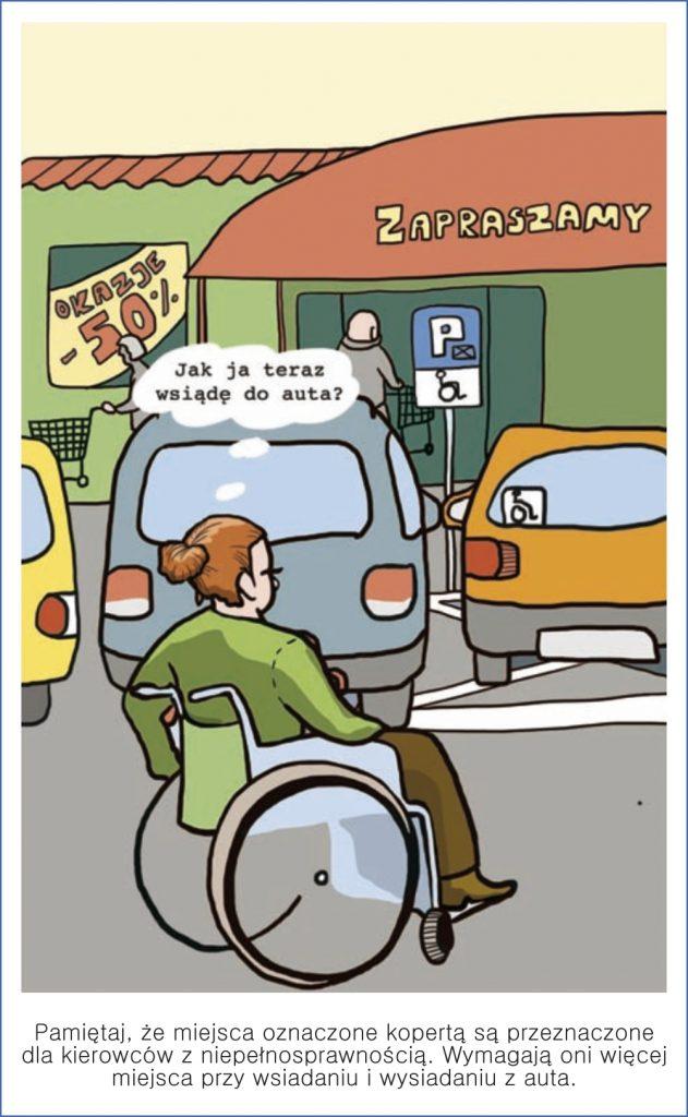 Pamiętaj, że miejsca oznaczone kopertą są przeznaczone dla kierowców z niepełnosprawnością. Wymajają oni więcej miejsca przy wsiadaniu i wysiadaniu z auta.
