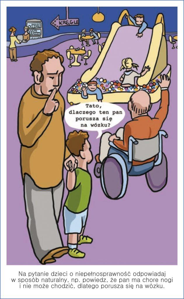 Na pytanie dzieci o niepełnosprawność odpowiadaj w sposób naturalny, np. powiedz, że pan ma chore nogi i nie może chodzić, dlatego porusza się na wózku.