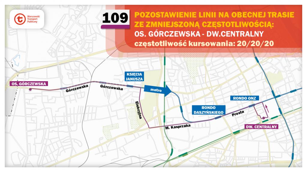 Schemat proponowanych zmian dla linii 109