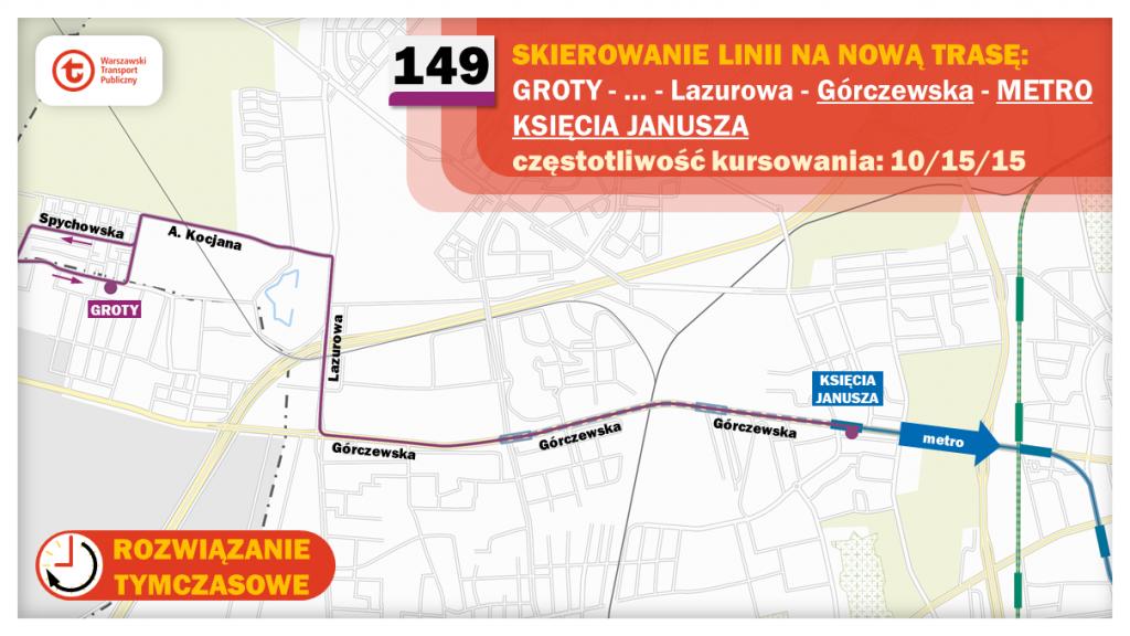 Schemat proponowanych zmian dla linii 149
