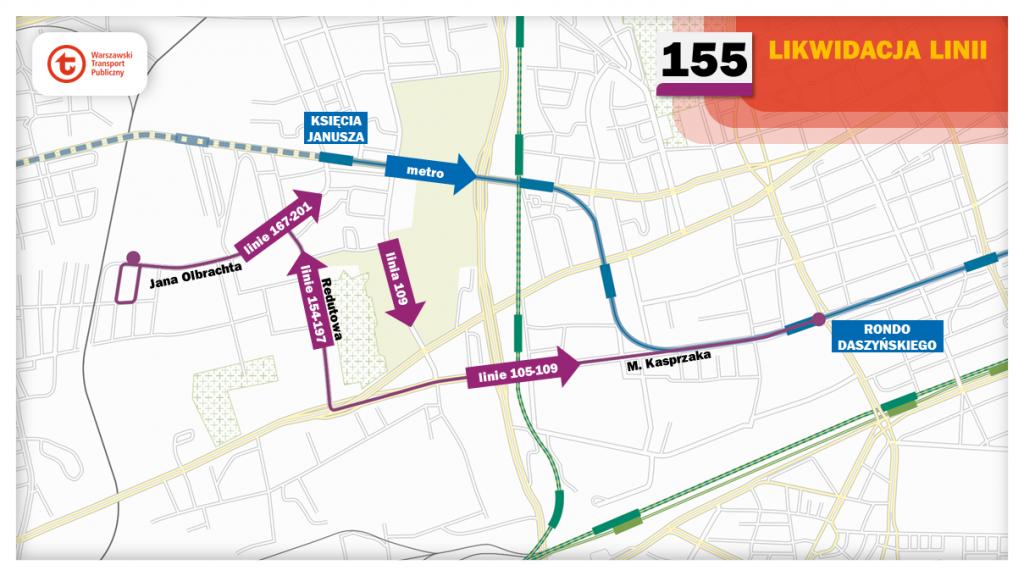 Schemat proponowanych zmian dla linii 155