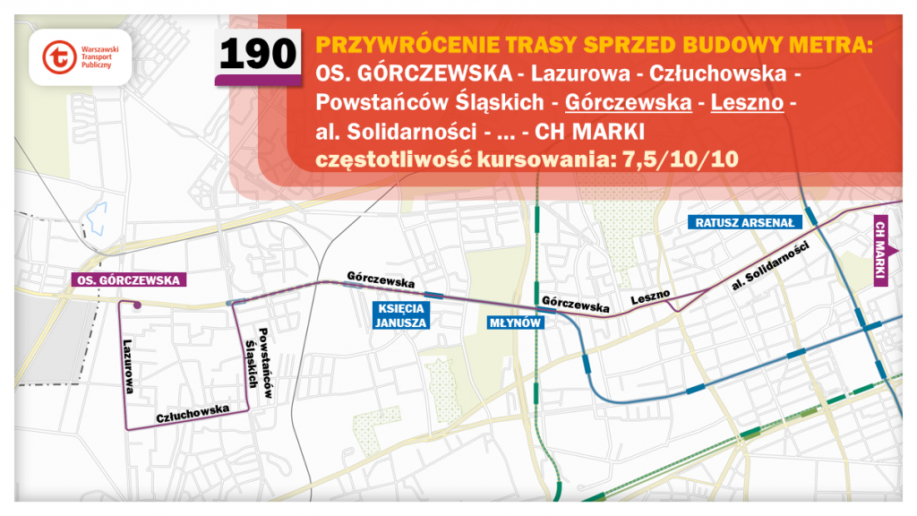 Schemat proponowanych zmian dla linii 190