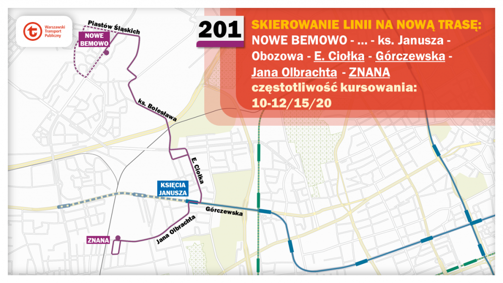 Schemat proponowanych zmian dla linii 201