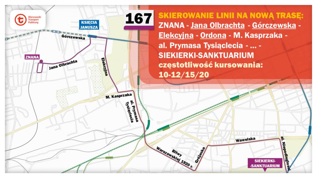 Schemat proponowanych zmian dla linii 167