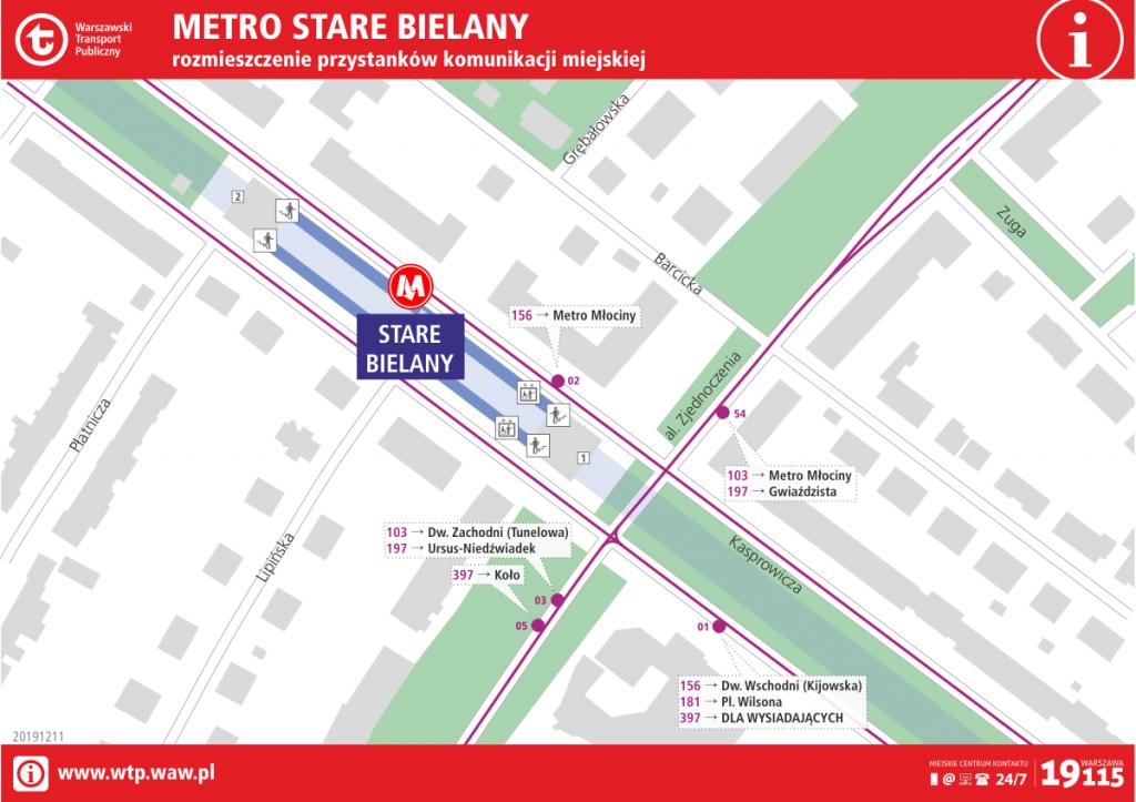Schemat rozmieszczenia przystanków komunikacji miejskiej przy stacji metra Stare Bielany