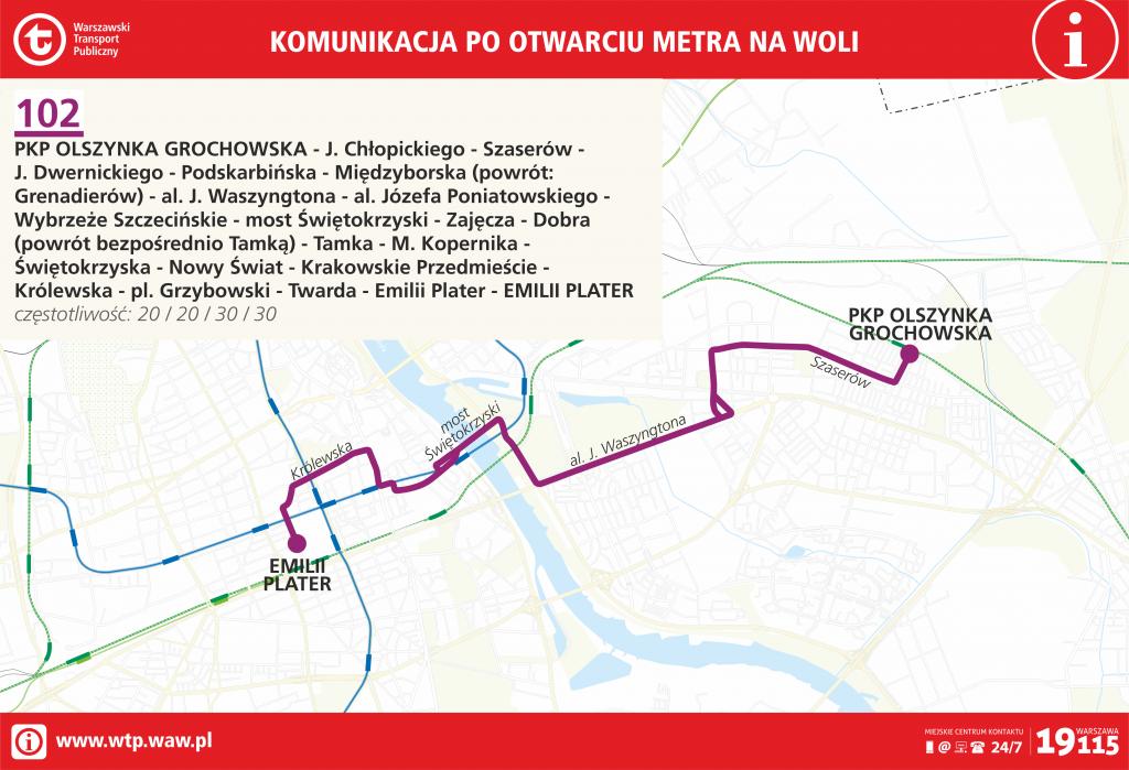 Przebieg linii 102 po otwarciu metra na Woli