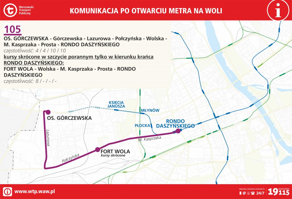 Przebieg linii 105 po otwarciu metra na Woli