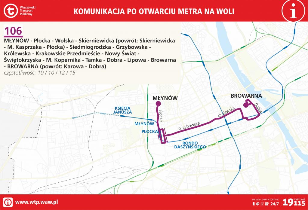 Przebieg linii 106 po otwarciu metra na Woli