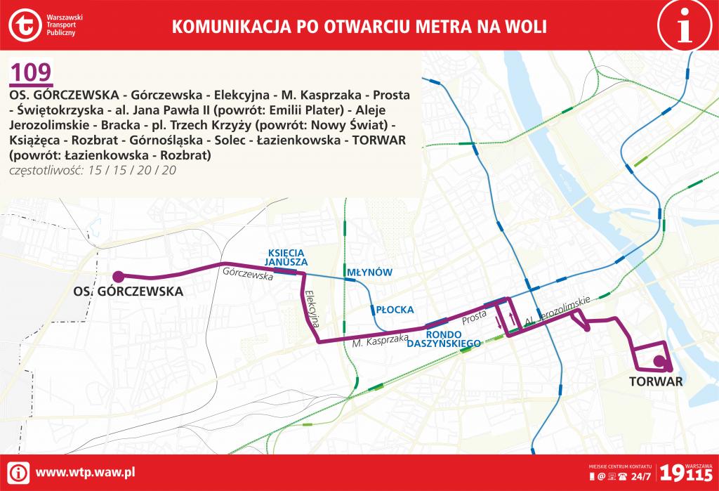 Przebieg linii 109 po otwarciu metra na Woli