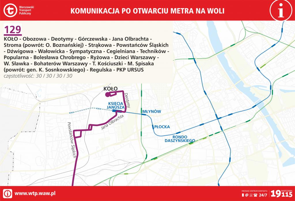 Przebieg linii 129 po otwarciu metra na Woli