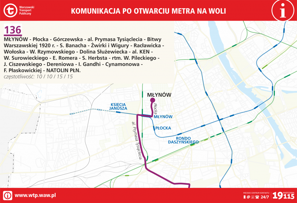 Przebieg linii 136 po otwarciu metra na Woli