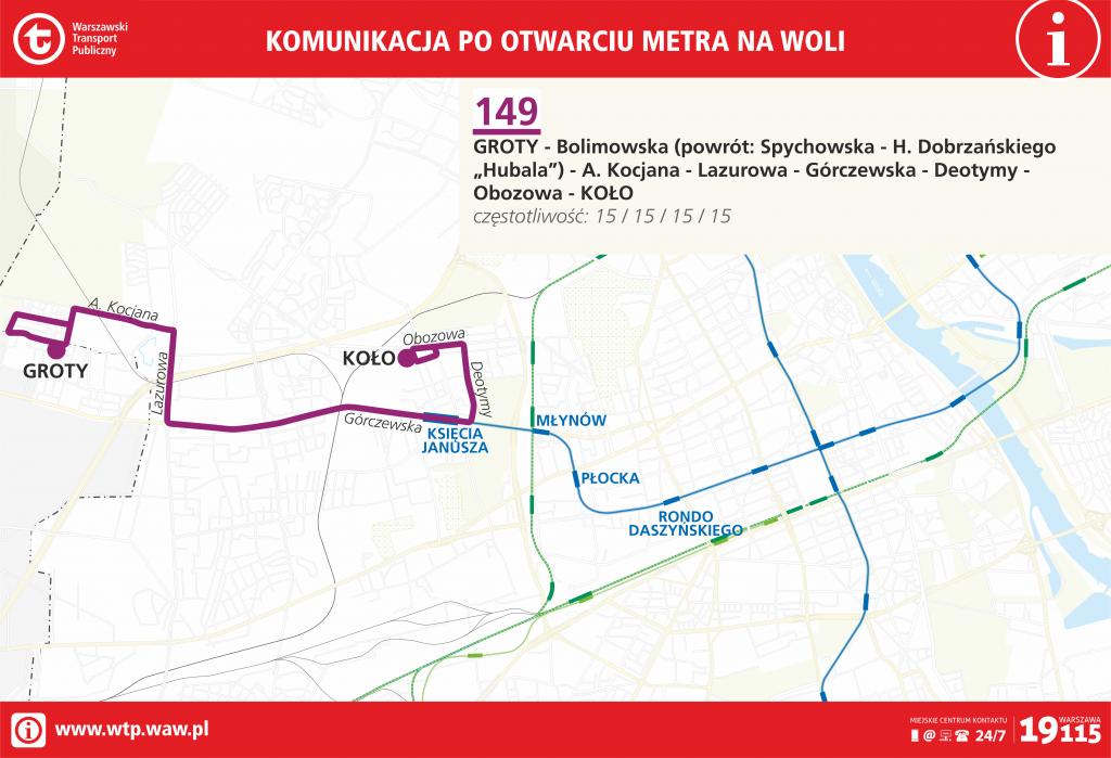 Przebieg linii 149 po otwarciu metra na Woli