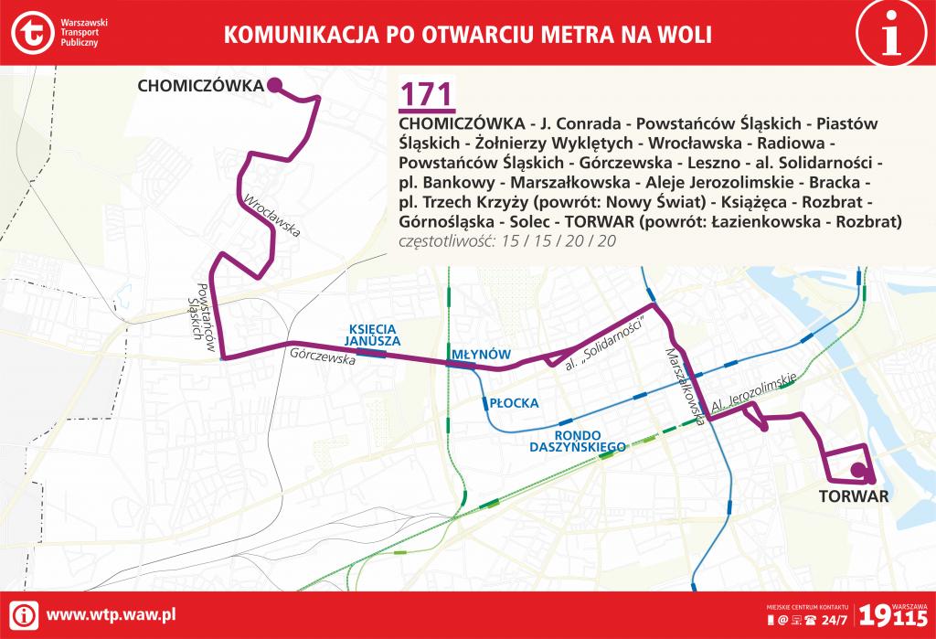Przebieg linii 171 po otwarciu metra na Woli