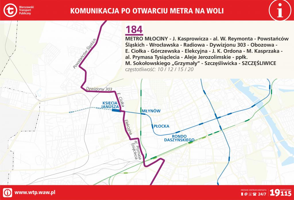 Przebieg linii 184 po otwarciu metra na Woli
