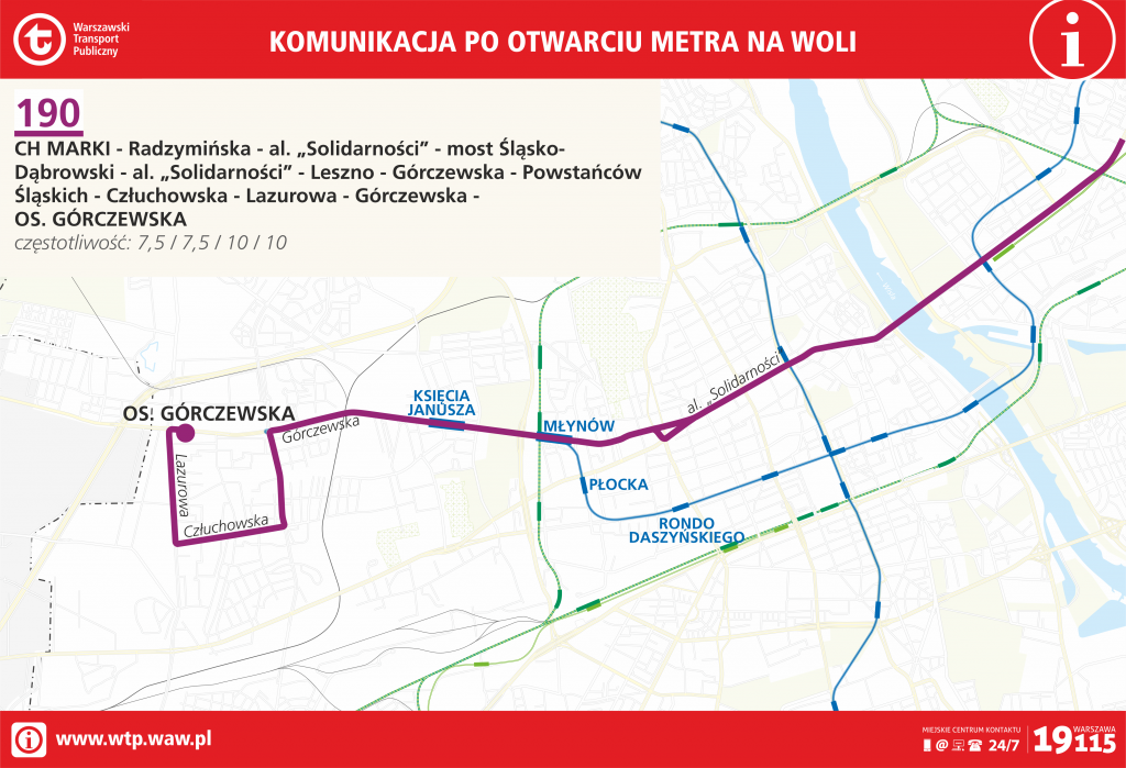 Przebieg linii 190 po otwarciu metra na Woli