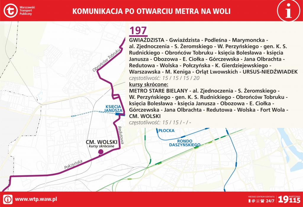 Przebieg linii 197 po otwarciu metra na Woli
