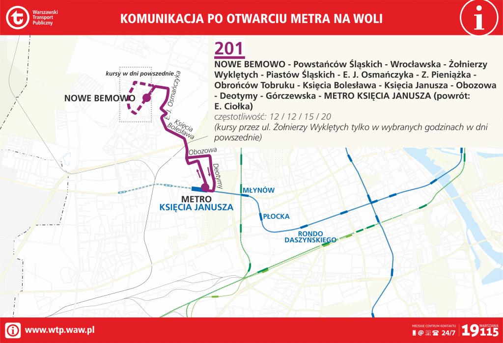 Przebieg linii 201 po otwarciu metra na Woli