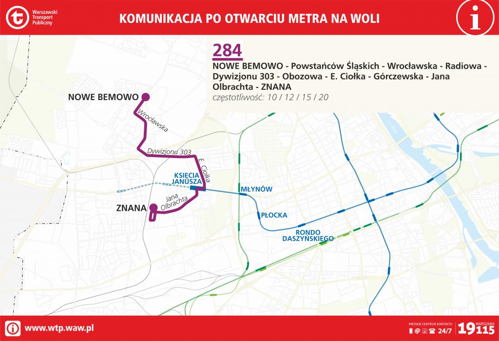 Przebieg linii 284 po otwarciu metra na Woli