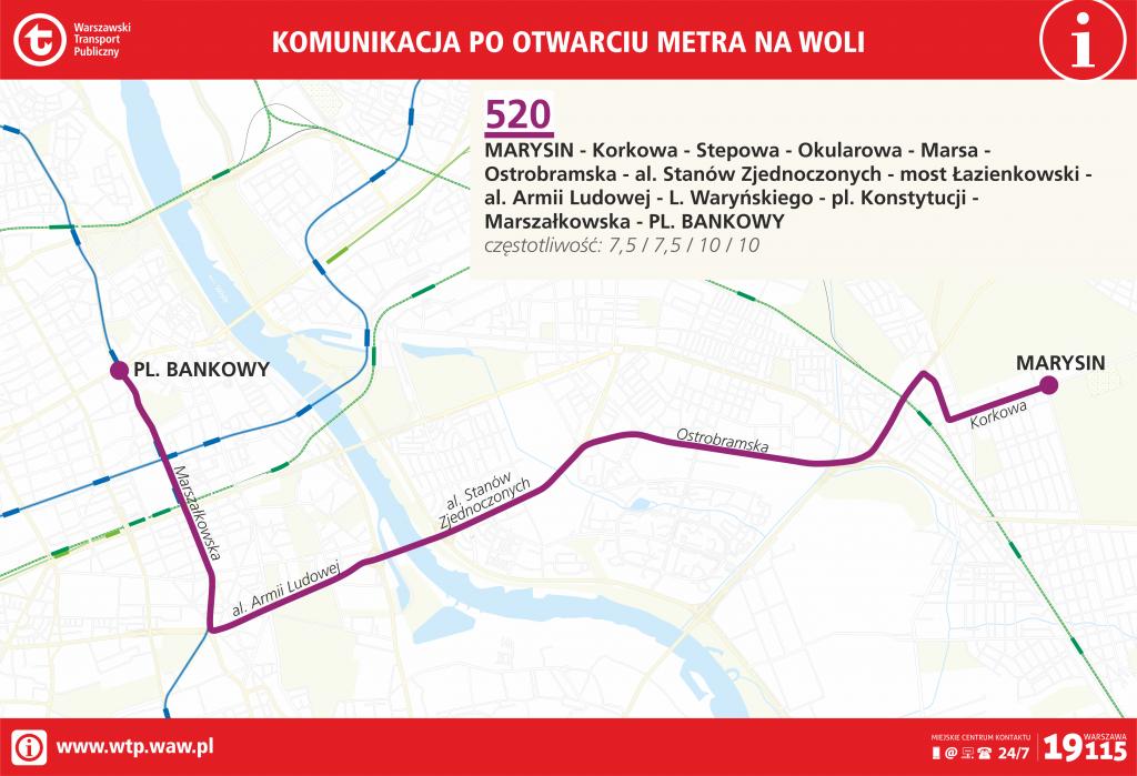 Przebieg linii 520 po otwarciu metra na Woli