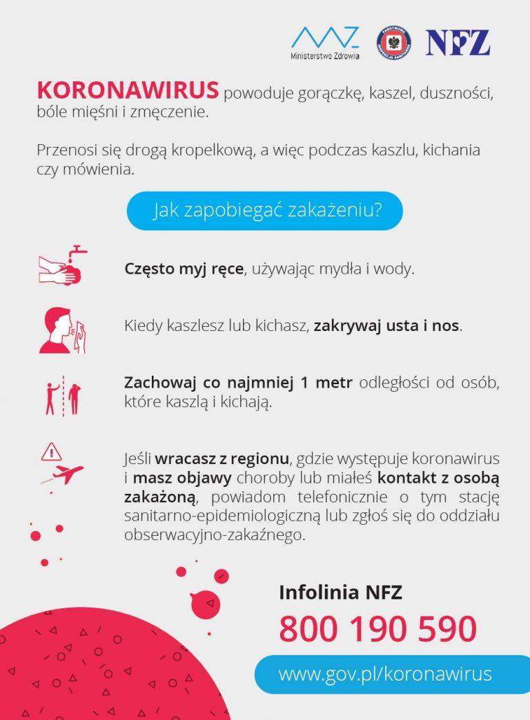 Koronawirus: zalecenia Ministerstwa Zdrowia – aktualizacja