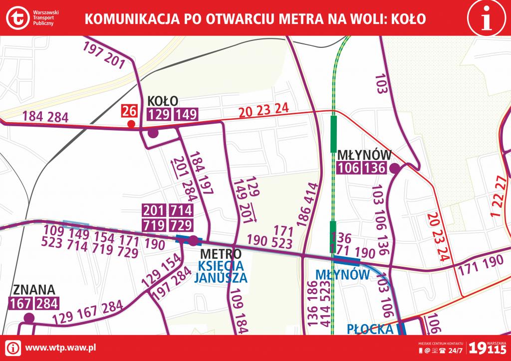 Komunikacja po otwarciu metra na Woli - Koło