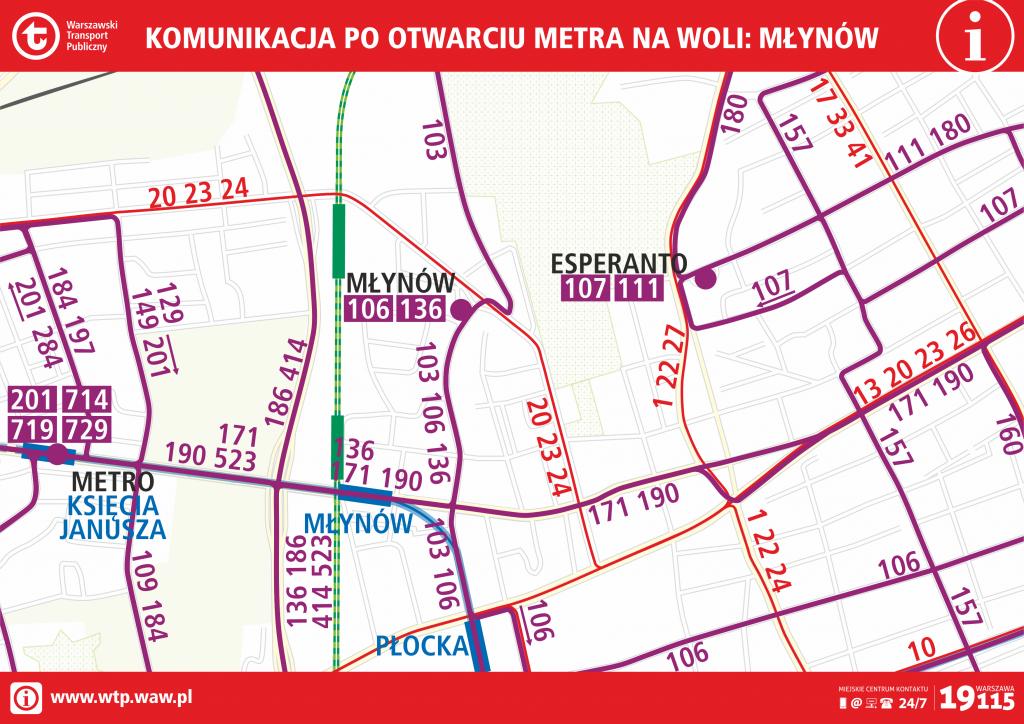 Komunikacja po otwarciu metra na Woli - Młynów