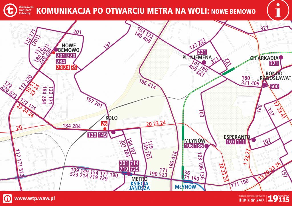 Komunikacja po otwarciu metra na Woli - Nowe Bemowo