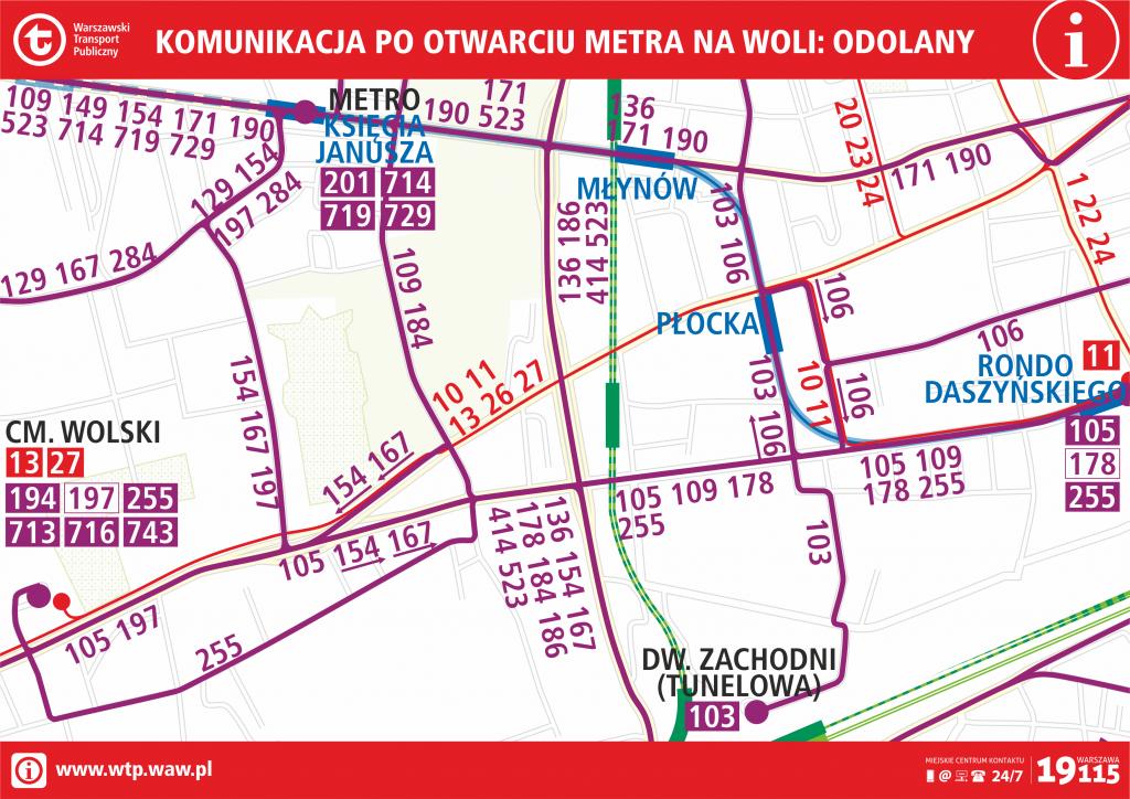Komunikacja po otwarciu metra na Woli - Odolany
