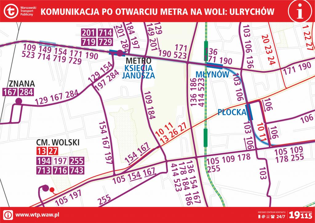 Komunikacja po otwarciu metra na Woli - Ulrychów