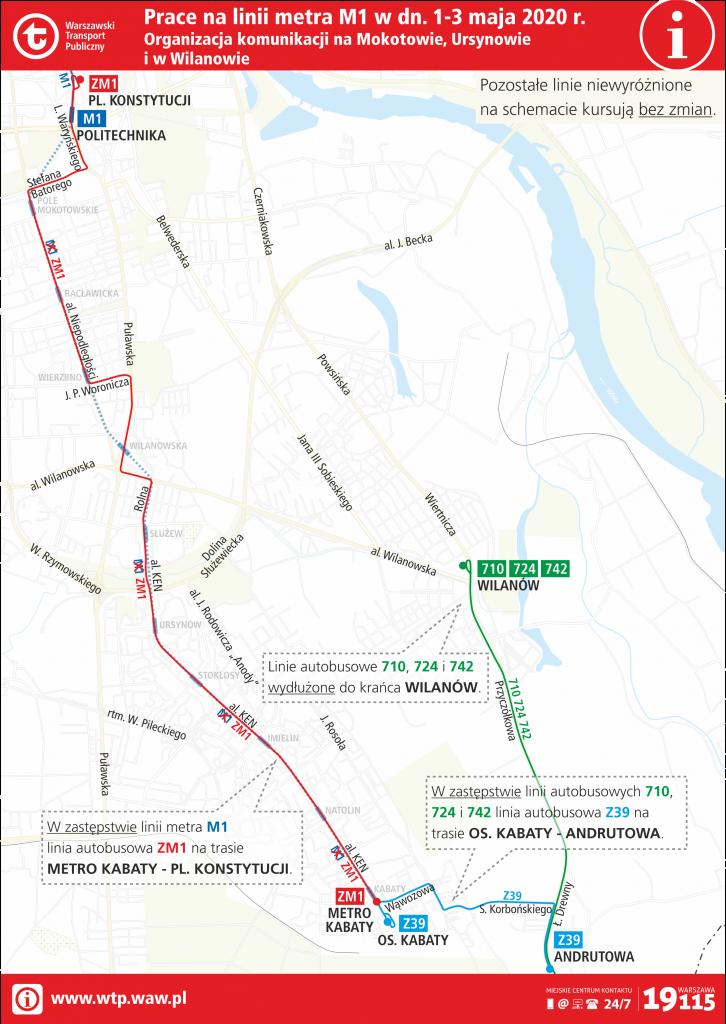 Schemat zmian w komunikacji wynikających z prac na linii metra M1 w dniach od 1 do 3 maja 2020 roku