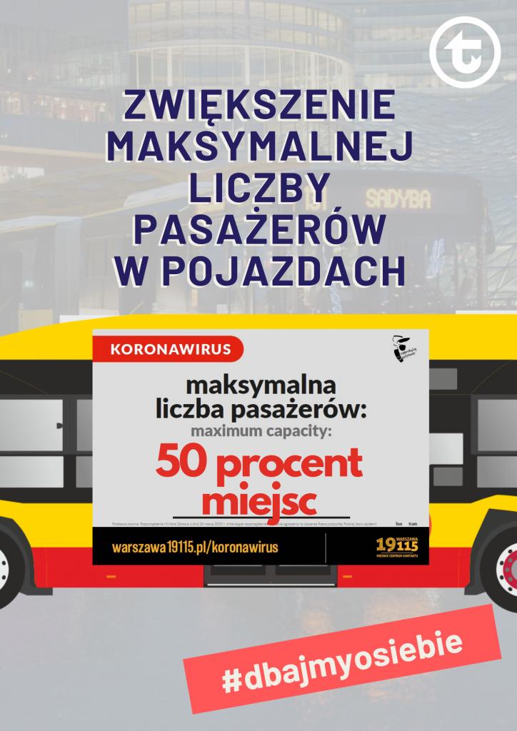Maksymalna liczba pasażerów w pojazdach WTP pięćdziesiąt procent