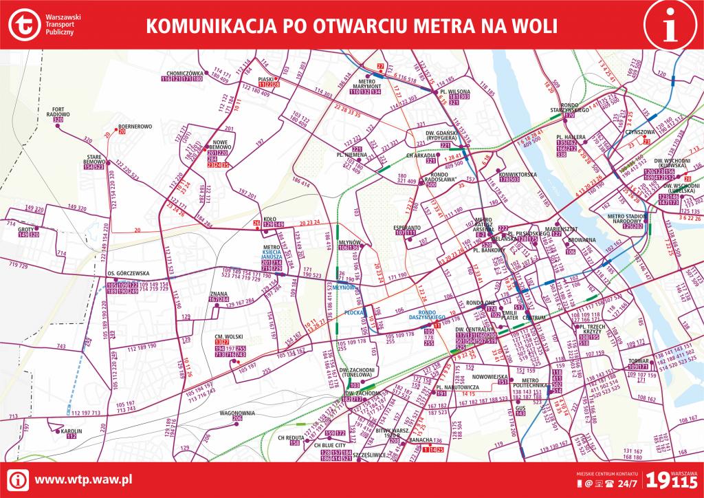 schemat układu komunikacyjnego po zmianach w kursowaniu komunikacji na Woli