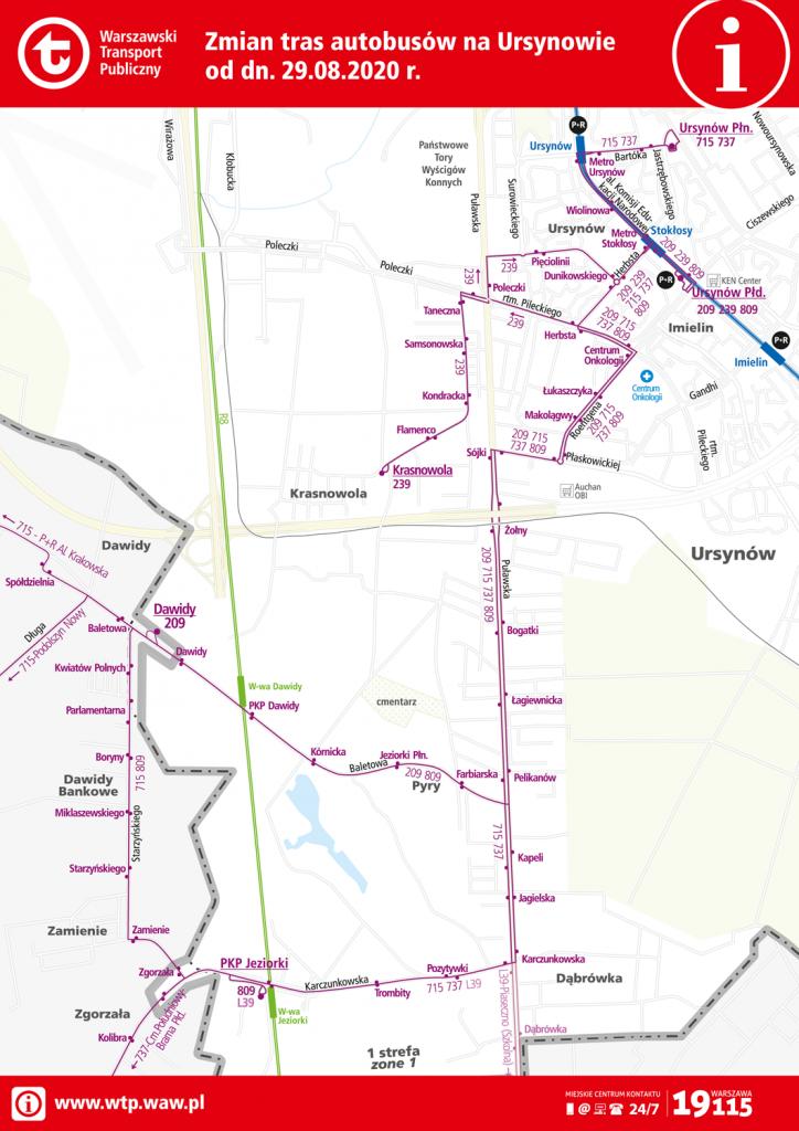 schemat zmian tras autobusowych na Ursynowie od 29 sierpnia