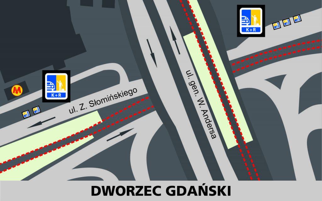 Lokalizacja stref Kiss and Ride w rejonie Dworca Gdańskiego: przy jezdni północnej ulicy Słomińskieg - 3 miejsca przed wiaduktem z ulicą generała Andersa i dwie za wiaduktem (przed wejściem na dworzec i do metra).