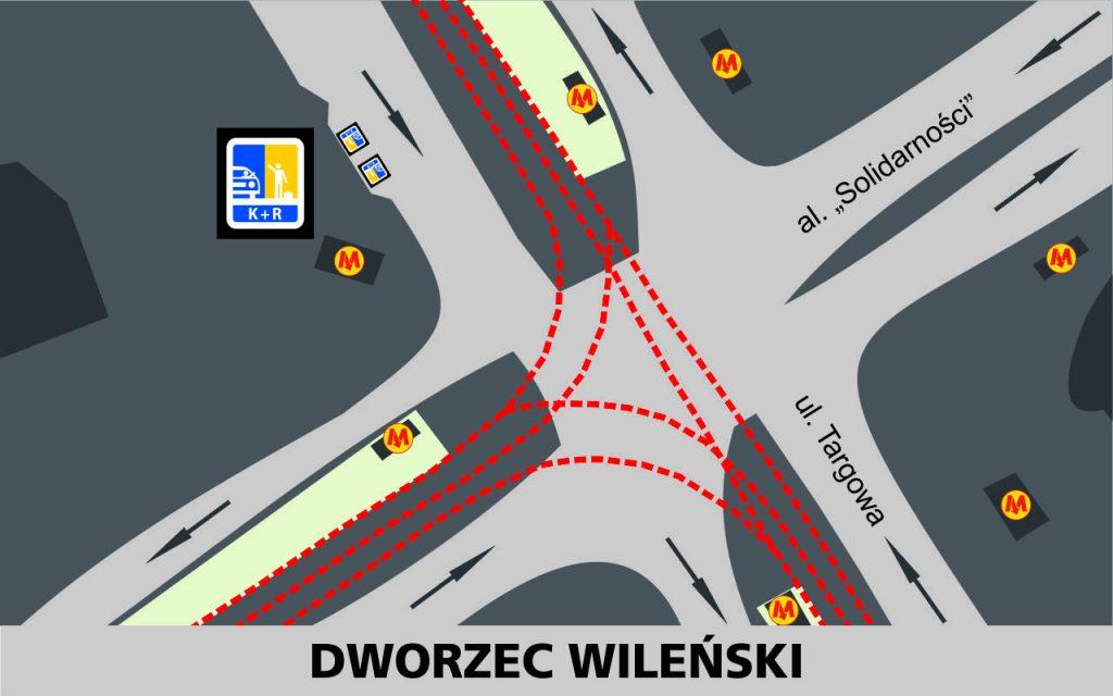 Lokalizacja stref Kiss and Ride w rejonie Dworca Wileńskiego: przy zachodniej jedni ulicy Targowej - 2 miejsca przed skrzyżowaniem z aleją Solidarności (obok wejścia do metra)