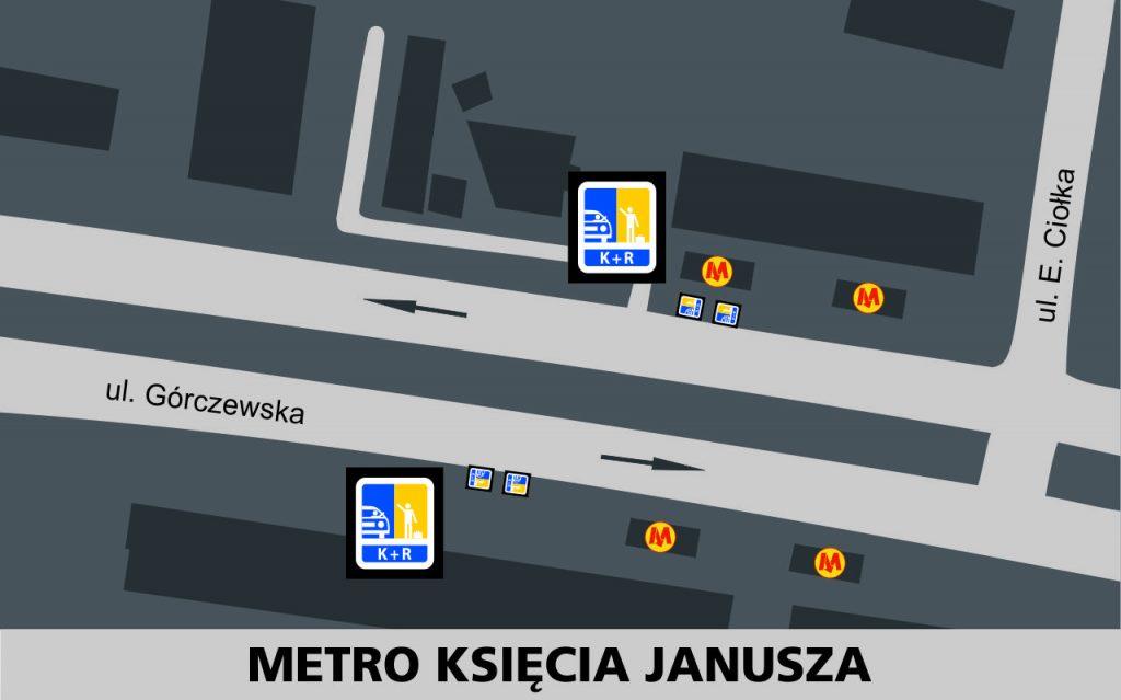 Lokalizacja stref Kiss and Ride w rejonie stacji Metro Księcia Janusza: przy ulicy Górczewskiej w obu kierunkach - po 2 miejsca w rejonie skrzyżowania z ul. Ciołka (przed wejściami do metra - głowica wschodnia).