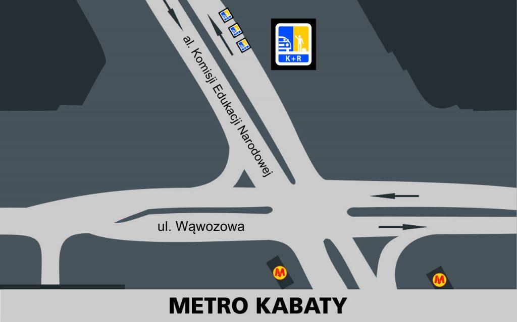 Lokalizacja stref Kiss and Ride w rejonie stacji Metro Kabaty: przy jezdni wschodniej alei Komisji Edukacji Narodowej - 3 miejsca za skrzyżowaniem z ulicą wąwozową.