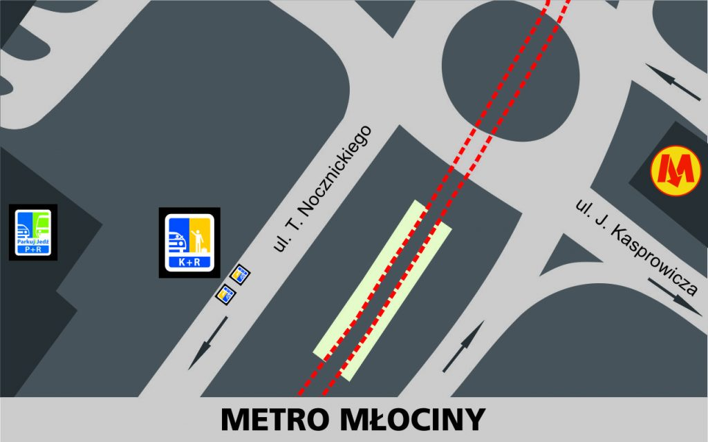 Lokalizacja stref Kiss and Ride w rejonie stacji Metro Młociny: przy jezdni zachodniej ulicy Nocznickiego - 2 miejsca za rondem z ulicą Kasprowicza (na wysokości pętli autobusowej).