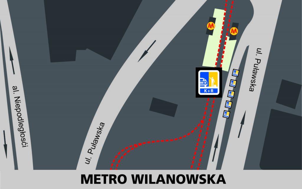 Lokalizacja stref Kiss and Ride w rejonie stacji Metro Wilanowska: przy bocznej odnodze jezdni wschodniej ulicy Puławskiej - 5 miejsca przy przystankach tramwajowych i wejść do metra.