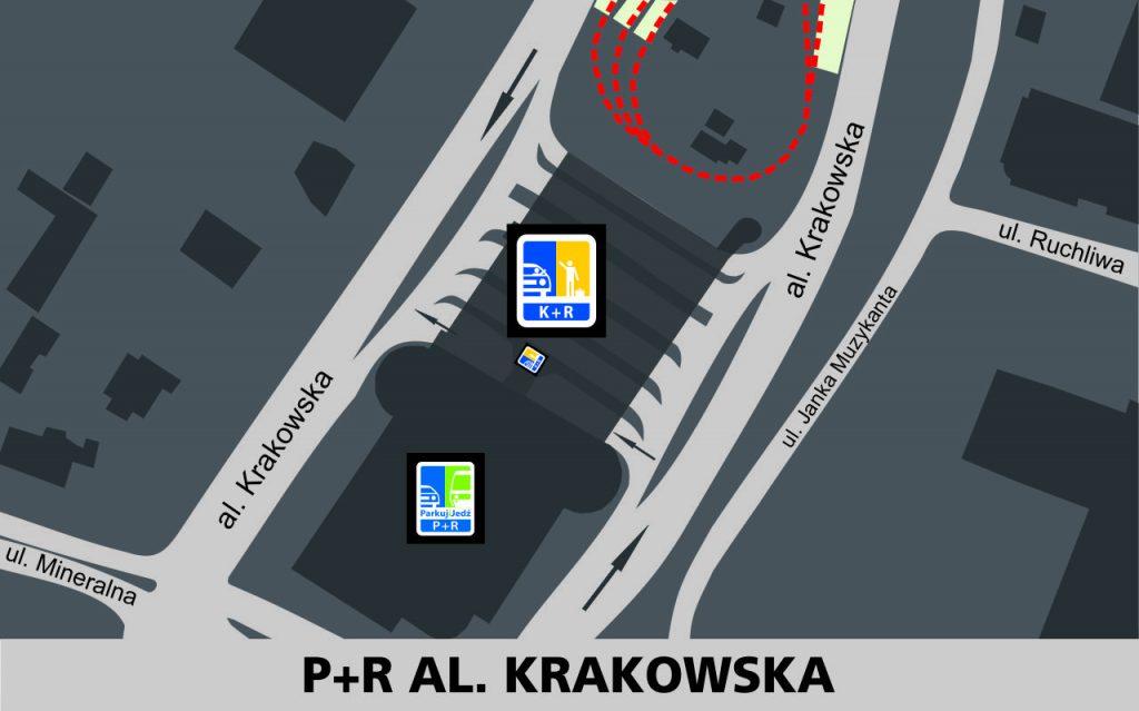 """Lokalizacja strefy Kiss and Ride w rejonie krańca autobusowego """"P+R AL. KRAKOWSKA"""": na terenie pętli autobusowej - 1 miejsce pomiędzy wjazdem a wyjazdem z parkingu P+R."""