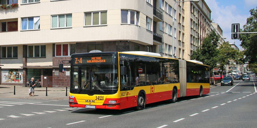 autobus linii zastępczej, której numer zaczyna się od litery Z
