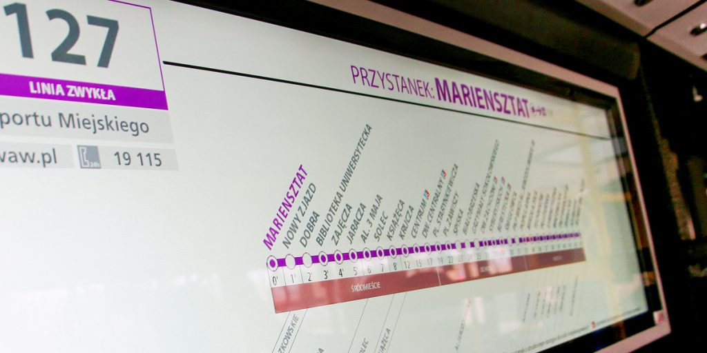 internal display with the route and a list of bus stops