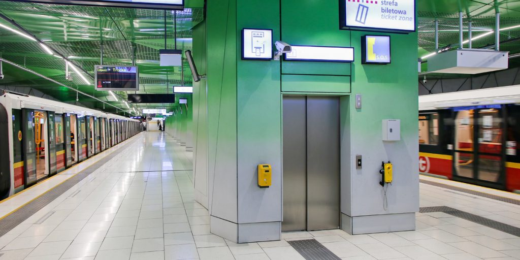 elevator on the platform of the metro station