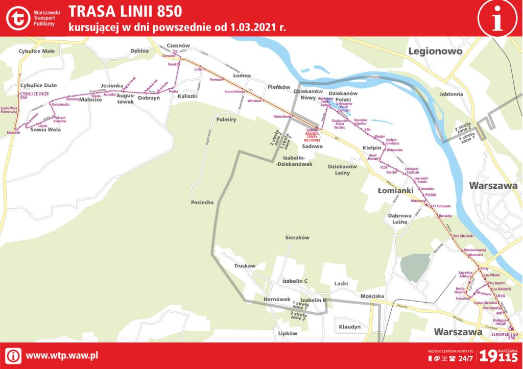 mapa trasy linii 850