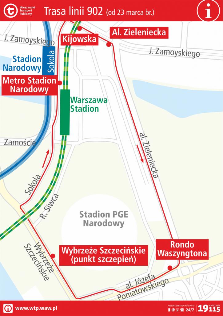 Schemat trasy linii autobusowej 902 - ważny od 23 marca 2021 roku