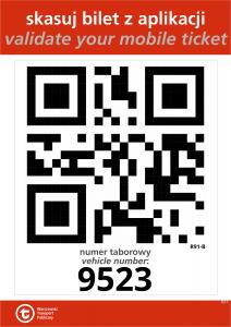 przykładowy wzór naklejki z kodem QR aktywującym bilet zakupiony w aplikacji