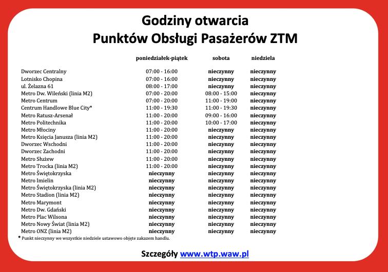 tabela przedstawiająca godziny otwarcia POP ZTM obowiązująca od 4 maja