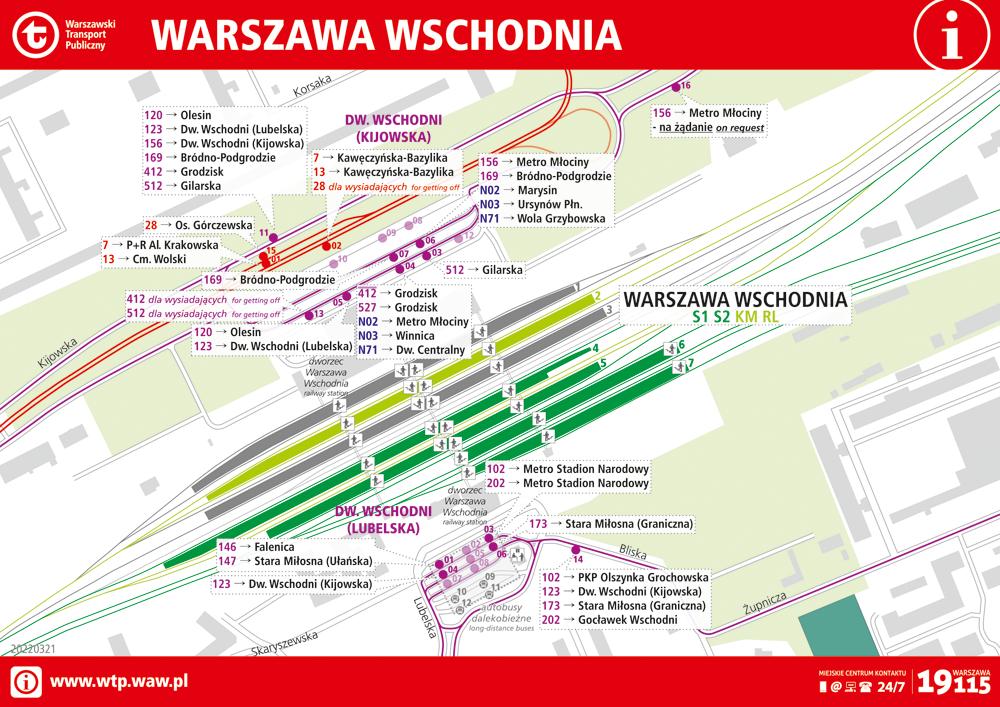 schemat węzła komunikacyjnego Warszawa Wschodnia